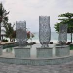 Sculptures next to pool