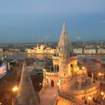 Fisherman's Bastion, Parliament and the Danube.
