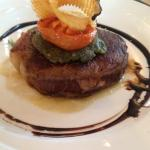 Sirloin Steak with herb crust, celeriac puree, grilled tomato & Balsamic glaze