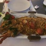 Lobster and spaghetti dinner in the top floor restaurant