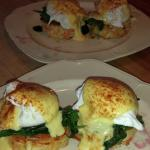 Crab cakes benedict are a special treat on certain mornings and requested by return guests