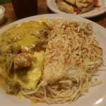 Green chili omelette biscuit on side