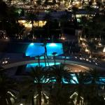 View of pool from balcony - night
