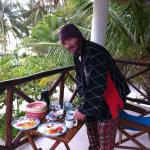 breakfast on the balcony, perfect view of the beach! ( it was a chilly morning,)