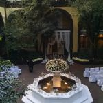 hotel courtyard decorated for a wedding