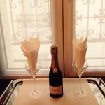 Little bottle of champagne in our room. Room 38 floor 3
