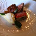 Pork fillet wrapped in pancetta with eggplant mille-feuille