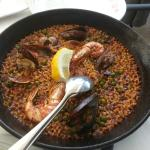 Seafood paella at lunch in the restaurant