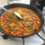 Vegetable paella at lunch in the restaurant