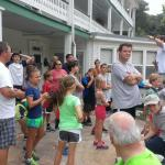 Getting ready for the Capon Mile on the porch of the Main Building