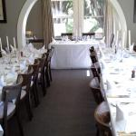 The restaurant set for the wedding of 35 guests.