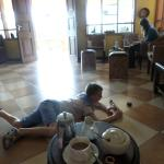 Coffee in reception and a clean floor to play on.