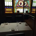 Restaurant with stain glass windows