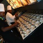 tappenyaki staff prepping sushi appetitizers