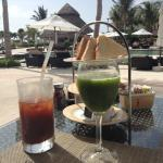 Breakfast at the preferred guests cafe - green juice and bloody mary!
