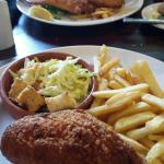 the restaurant food was lovely. pictured: fish and chips and chicken kiev