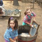 Washing clothes at the Settler's Homestead!