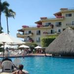 Pool and swim up palapa bar