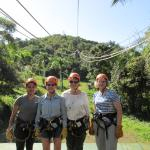 the zip liners! having fun in the rain forest.