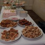Our buffett for the party, we were allowed to bring scones and birthday cake in as extras.