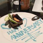 Our special anniversary dessert and champagne