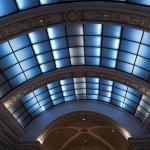 Skylights over the lobby and dining area