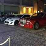 the cars just outside our lobby; rolls royce, mazerati, lambourghini and maclaren