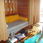 Inside the over water bungalow