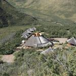 View of the lodge and rooms from one of the hiking trails