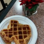 Fresh TX shaped waffles for breakfast