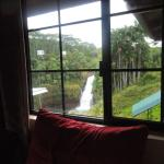 This is the view of the falls from the room, which were only seen while on the bed