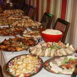The buffet for the reunion =30 happy people