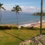 view from the upper level pool of the beach at Four Seasons Maui