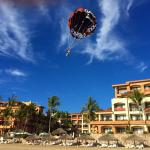 Parasailing over the Pacific. This is me landing right in front of the resort on the beach.