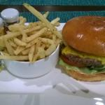 Superior burger and shoestring fries from teh hotel restaurant