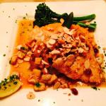 Almond encrusted grouper, sweet potato mash, and broccolini!