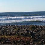 Late afternoon view of the rocky beach and surf