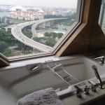 Our bath tub opens up to an incredible view of the Kallang river
