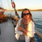 Sunset Sailing with glass of wine