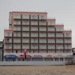 This is  of hotel down by the beach