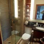 Our bathroom on the Gold Floor was fully modernized, if a bit small and with an odd shower.