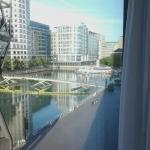 View from a room - footbridge to the right goes to main Canary Wharf area