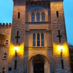 Cabra castle at night. My room in the carriage house and the view of the courtyard from my room.