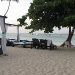 Clean, comfy beach and pool side furniture for outside relaxing and chatting with new friends