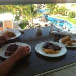 Delicious ribs on the balcony, 24hr room service is included in all inclusive