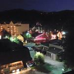 The view of downtown Gatlinburg at night from our balcony.