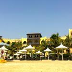 View of hotel while standing on the beach