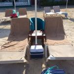Our reserved beach chair and cooler