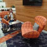 "Here's an example of the weird ""Austin Powers"" furniture in the lobby."