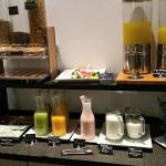 Free Buffet included. Here is the Juice and cereal Station.